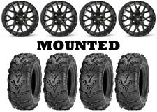 Kit 4 ITP Mud Lite II 2 Tires 27x9-14/27x11-14 on ITP Hurricane Matte Black IRS