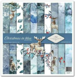 """11.8"""" x 12.1"""" scrapbooking cardstock paperpad Christmas in Blue 11 sheets"""
