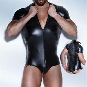 Mens Sexy Leotard PVC WetLook Zip Bodysuit Wrestling Suit Faux Leather Jumpsuit