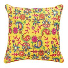 """Indian Paisley Embroidered Cushion Cover 16x16"""" Silk Square Throw Pillow Case"""