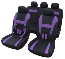 Autositzbezüge Lila Schwarz | Universal Auto Sitzbezüge | Lenkradbezug 37-39 cm