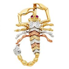 14K tricolor gold Scorpion large pendant EJCM33201