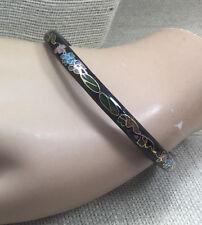 Cloisonne Bracelet Enamel Brass Black Pink Aqua Yellow Floral Tube Bangle