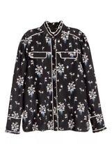 ERDEM X H&M Women's Black Floral Silk Pajama Blouse