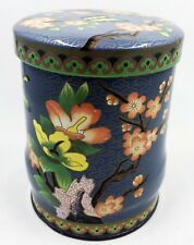 Vintage Daher England Tin Container Blue With Orange Flowers & Butterflies 5""