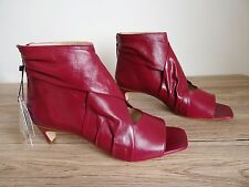 ZARA BERRY COLOURED MID HEEL ANKLE BOOTS WITH OPEN TOE SIZE UK 8 EU 41 USA 10