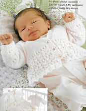"Baby/premature baby/reborn lacy cardigan knitting pattern 10""-18"" 4 ply 146"