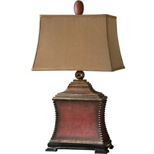 """PAVIA XXL 32"""" AGED FARMHOUSE RED WOVEN TEXTURE TABLE LAMP UTTERMOST 26326"""