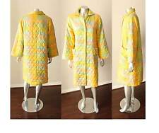 Ombre Fusion Vintage 50s Robe Smoking Jacket Quilted Sorbet Yellow Button M L
