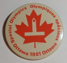 Vintage Special Olympics Button Pinback Ottawa 1981 Canada Parliament Maple Leaf