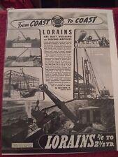 Vintage 1940 Lorain 95 Crane Set, Moto-Crane Advertisement Ad.  Thew Shovel Co.