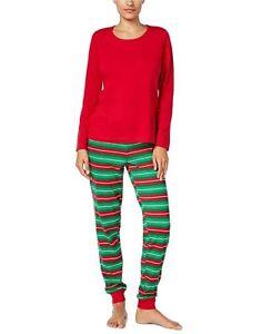 Family Pajamas Womens 2-PC Pajama Set Holiday Stripe XS