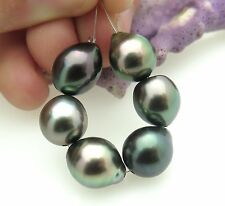 6 AA GORGEOUS RIKITEA MANGAREVA GAMBIER ISLAND BLACK CULTURED PEARLS