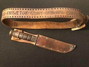 USMC Kabar Mark 2 Knife -US WW2/WWII/Fighting/Collection -Pacific Theater Marked