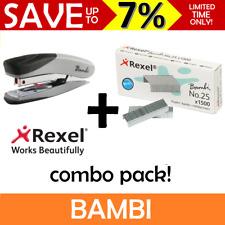 NEW Rexel BAMBI Mini Stapler + No 25 Staples Refills Cute Small Tiny Remover