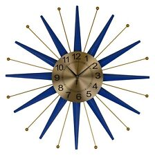 Large Metal Blue and Gold Nautical Star Wall Clock
