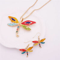 Dragonfly Necklace Earrings silver enamel charm set Christmas birthday lucky uk