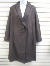 Dialogue Light Tweed Long Jacket Dark Brown - Small, New With Tags