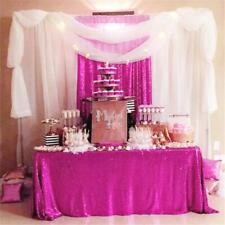 "Fuchsia Sequin Tablecloth 60""x102"" Sparkly Table Cloth Wedding Sequin Overlay"
