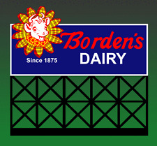 Borden'S Dairy Animated Lighted Neon Sign Ho or N Scales-Blinks-Flashes-Mor e!