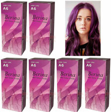 6 x Berina Permanent Hair Dye Color Colour Cream # A6 Violet