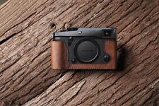 Genuine Real Leather Half Camera Case Bag Cover for FUJIFILM X-PRO2 Brown