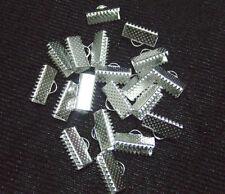 20pz coprinodo terminale in metallo 13x8mm  colore argento bijoux