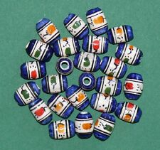 25 Peru Keramik Perlen 12 mm Blau + Muster, Olive oval, Inka Indianer Schmuck