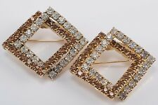 Vintage Set Of 2 Amber Clear Intertwined Square Gold Tone Rhinestone Pin Brooch