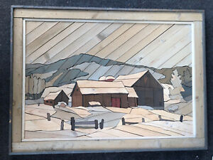 """Vintage Barn Lath Wood Wall Art In Style of Theodore DeGroot Approx 33.5""""x24.5"""""""