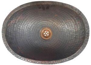 Hammered Rustic Bronze Pure Copper PETITE Oval Bathroom Sink Kitchen Remodel