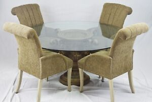 High End Round Thick Glass Top Table with 4 Chairs Neoclassical Vase Base 5 pcs