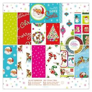 36 x Papermania Love Santa 30.5cm /12 In Printed Papers With Glitter Sheets Pack