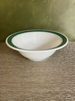 Corning Pyrex Milk Glass Turquoise Laurel Leaf Band Serving Bowl Restaurant Ware