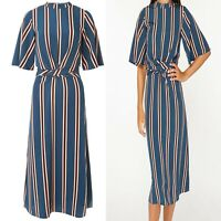 NEW EX DOROTHY PERKINS Striped Wrap Midi Dress Sizes 10-20