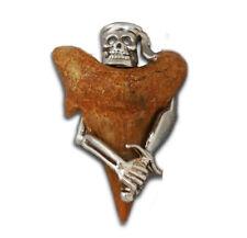 Skull Pendant Shark Sterling Shark Tooth Skull Pirate