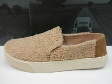 TOMS WOMENS SUNSET SLIP-ONS LIGHT BROWN FAUX SHEARLING SIZE 8