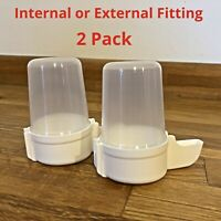 2 x Bird Feeder Water Drinker Seed Clipper Fountain Cage Budgie Finch