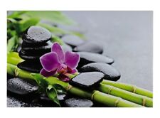 Picture Canvas Print Art Print stone orchid bamboo natural 78x118 cm