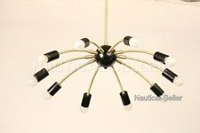 MID-CENTURY 10 LIGHTS BRUSHED & BLACK  SPUTNIK CHANDELIER PENDANT FIXTURE LIGHT