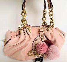 NEW RARE Juicy Couture Pink Gold Pom Pom Fluff Leather Handbag Purse $250