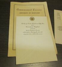 1953 University of Maryland Graduation Invitation and Commencement Program 30pg