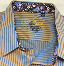 Robert Graham Men's 3XL Gold Blue Striped LS Flip Cuff Shirt EUC (Bin AA)