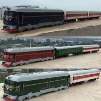 1:87 Train Model Alloy Pull Back Double Train With Passenger Compartment Wagon