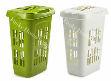 Whitefurze Plastic Laundry basket Bin With Lid Hamper Rectangular Tall New Style
