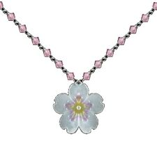 Cherry Blossom Crystal Necklace | Nature Jewelry