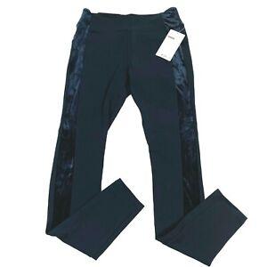 NWT Athleta Womens Pants Size MT Black Metro Velvet Lux Tux Stripe Tights Yoga