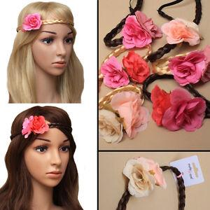 Hair Plaited Synthetic Headband Elastic FLORAL Bandeaux Plait Alice Hairband