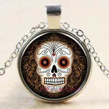 New Charm Vintage Cabochon Glass necklace Silver pendants(sugar skull