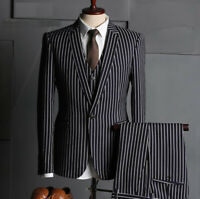 Black Men's Suit Chalk Stripe Formal Business Slim Fit Tuxedos Best Man Tailored